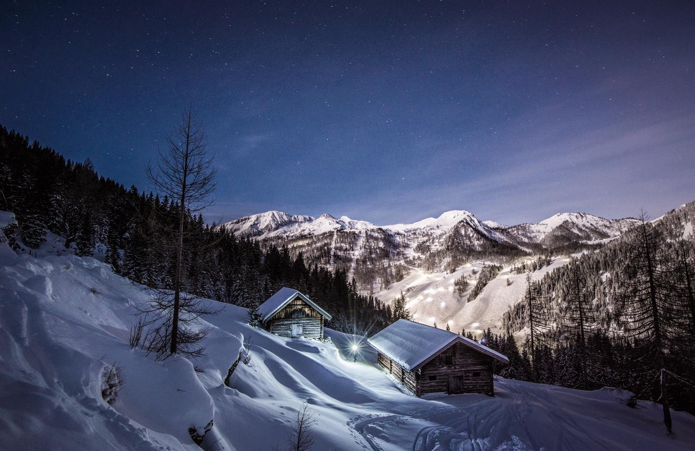 Strimskogel, Vollmond, Fotoshooting, Landschaft, Winter