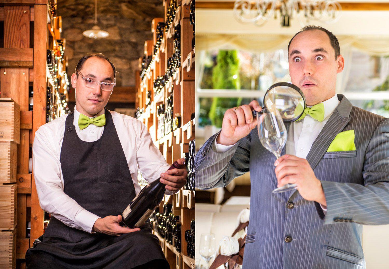 Sommelier, Glas mit Lupe anschauen, Preidlhof, Tourismus, Werbefotografie, Lorenz Masser, Fotograf Land Salzburg