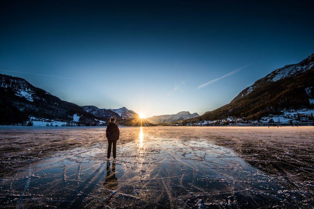 Grundlsee, Salzkammergut, Eislaufen, Sonnenuntergang, Landschaft, Winter, Eislaufen, Reisen, Landschaft, Landscape, Landschaftsfotografie, Lorenz Masser