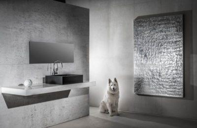 Werbeaufnahme der Firma Herzgsell Altenmarkt, Schwarz-Weiß Aufnahme eines Bads mit Hund, Werbefotograf