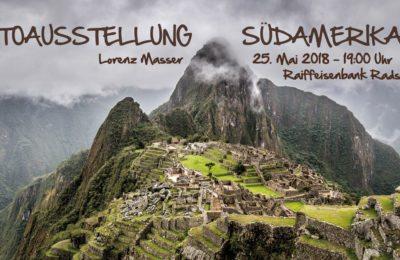 Flyer von der Fotoausstellung Südamerika, Reisefotograf, Fotoausstellung Radstadt