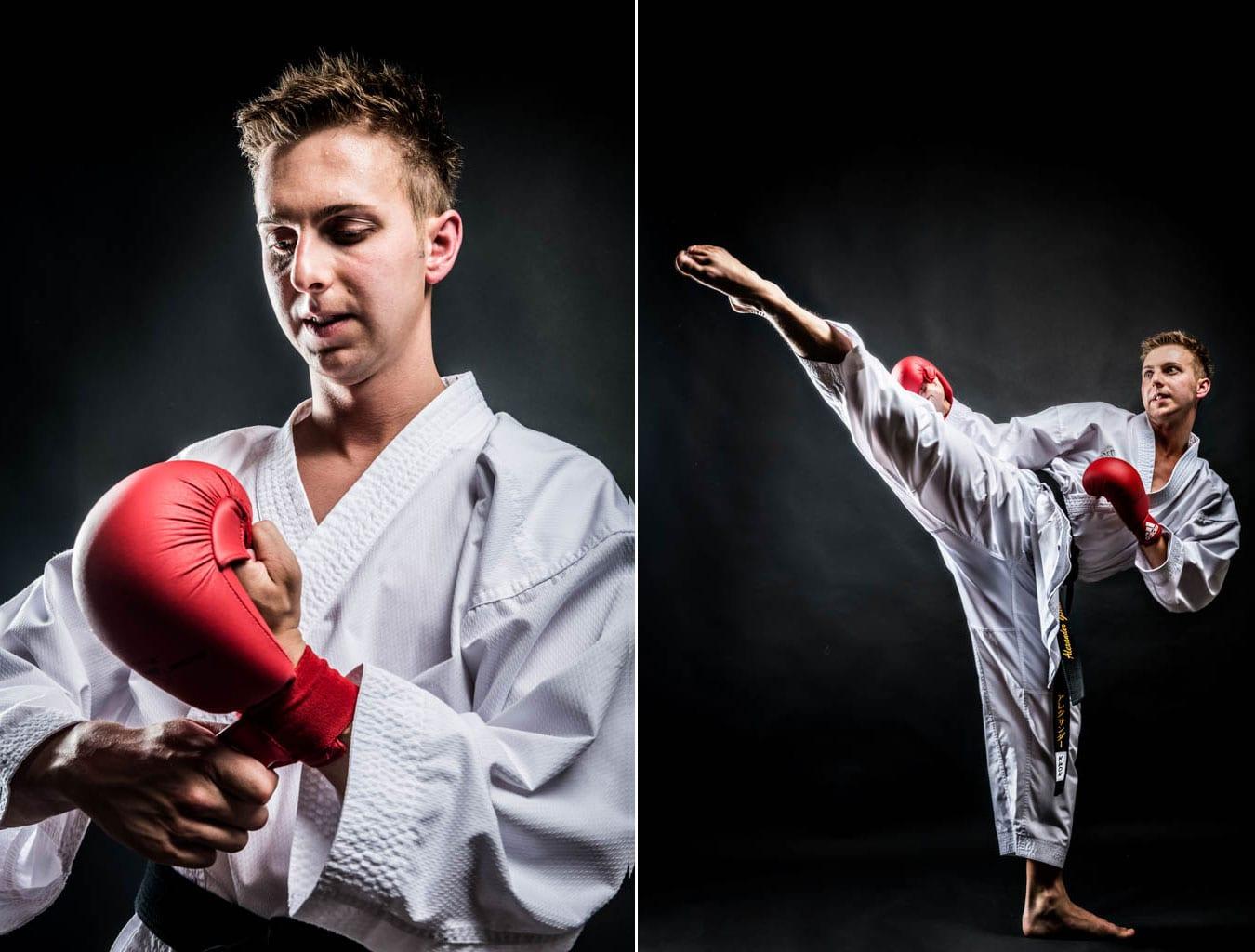 Athletenportraits für den Karateka Alexander Gstatter vom Karateclub Yoseikan, Sportfotograf Radstad, Karate