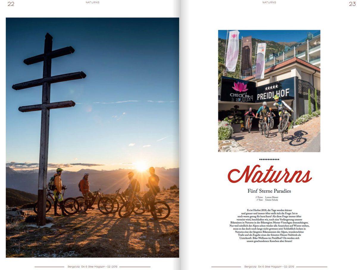 Biketour in Naturns, Herbst, Zeitungsartikel im Magazin Bergstolz, Fotograf Südtirol